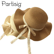 Girls Sun Cap Lace Ribbon Decorate Straw Hat For Children Panama Summer Baby Hats Caps
