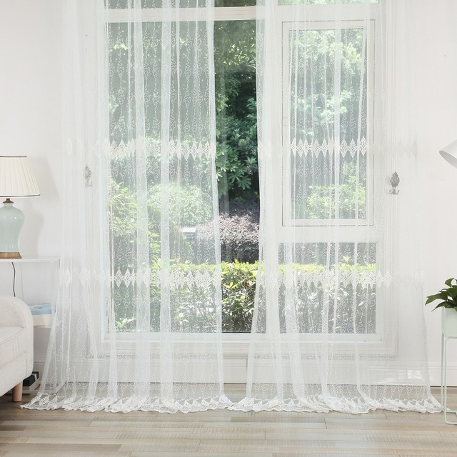 DSinterior White Embroidery Tulle Sheer Curtains for Living Room or bedroom Window