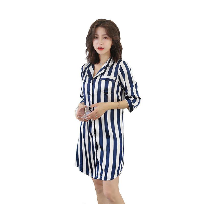 Ilkbahar Yaz kadın Çizgili Baskı Gecelik Saten Pijama Kadın V Yaka Ipek Ince Gecelikler Rahat Kısa Gecelik