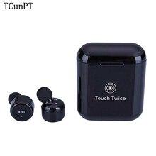 TCunPT New X3T Touch Control True Wireless Bluetooth Earbuds Earphone Mini Sport Earphones with Charging Case for Smart Phones