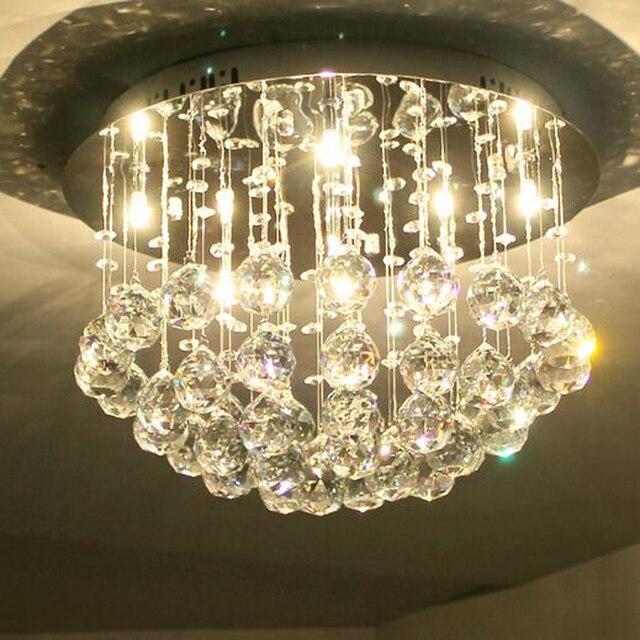 Lampadario Gocce Cristallo Moderni.Moderno Lampadario Cristal Lamparas Candiles Rotonda Lampadario Di