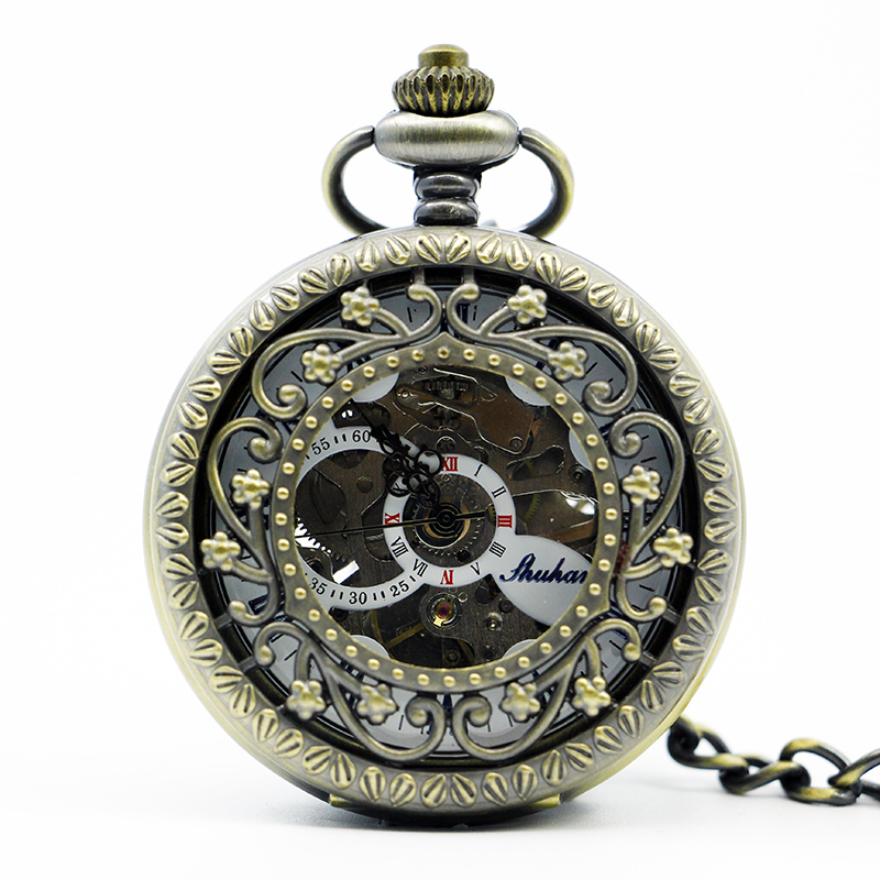 Fashion & Casual Brone Star Hollow Vintage Women Mechanical Pocket Watch Men Hollow With Fob Clock Pendant Chain PJX1202