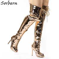 Sorbern Sexy Rose Gold Thigh High Boots Women Lace Up Front Open Toe Fall Females Boots Plus Size Custom Colors Stilettos Heels