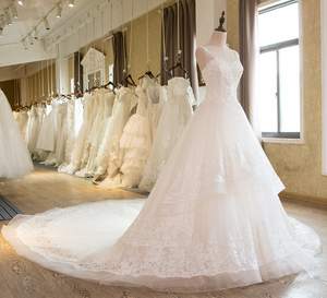 Image 3 - SL 25 New Sweetheart Cathedral Train Lace up  Pearls Wedding Dress 2017