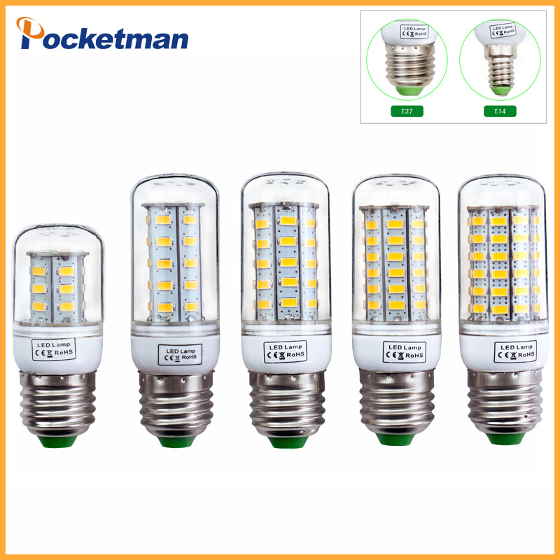 E27 LED Lamp E14 LED Bulb SMD5730 220V Corn Bulb 24 36 48 56 69LEDs Chandelier Candle LED Light For Home Decoration