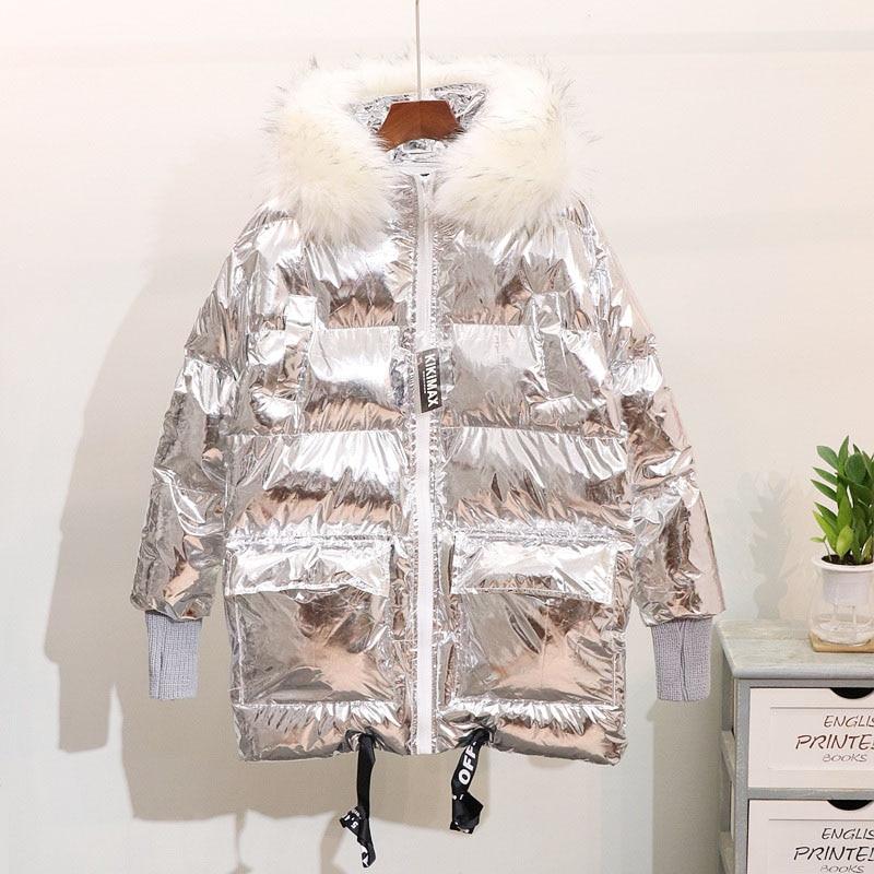Slim Lumineux Bas Veste Femmes Kindy Nouveau Brillant Parka Couleur Femme  Manteau 2018 Pour Vers Le argent vent Coupe Noir Zipper Chaud Hiver ApZxwf 0e78272b768