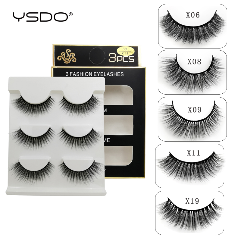 YSDO 3 Pairs Eyelashes Hand Made Mink Eyelashes 3d Mink Hair Lashes Natural False Eyelashes Makeup Mink Strip Lashes Faux Cilios