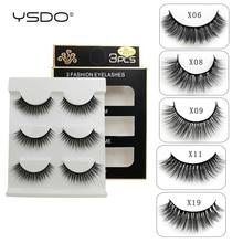 лучшая цена YSDO 3 pairs eyelashes hand made mink eyelashes 3d mink hair lashes natural false eyelashes makeup mink strip lashes faux cilios