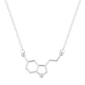 Image 2 - Kinitial 30 قطعة السيروتونين قلادة السيروتونين جزيء 5 ht قلادة الكيمياء قلادة هرمون DNA سلسلة قلادة مجوهرات