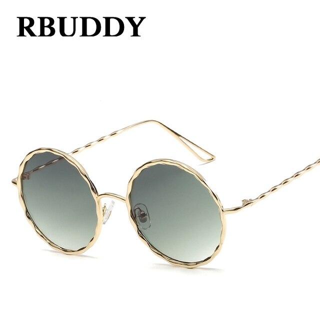 9d5b5df75ab3aa RBUDDY Ronde lunettes de Soleil Femmes Or Métal Cadre Grandient Objectif  Cercle lunettes de Soleil De