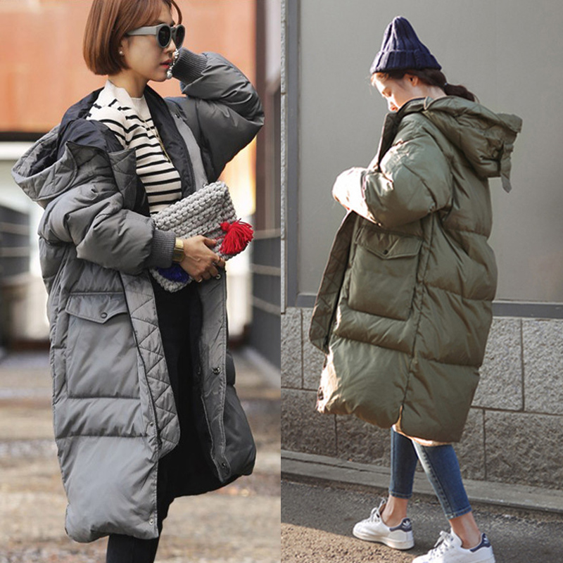Korean Oversized Winter Jacket Women Long Hooded Thicken Warm ...