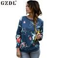 Весна осень женщины кофты цветочный узор пуловер свободного покроя толстовки смеси хлопка о-образным вырезом с длинными рукавами многоцветный топы CL2389