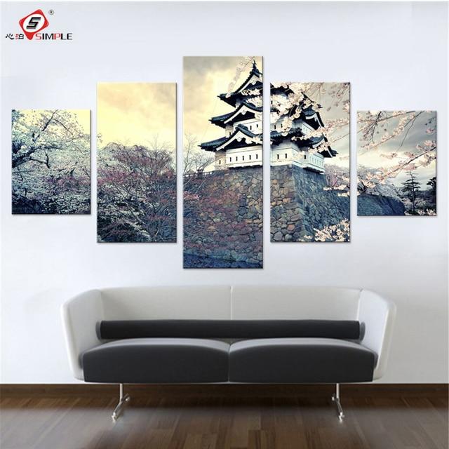 Pareti Dipinte Per Camere Da Letto.Citta Sakura Giappone Primavera Set Tela Pictures Parete Per Camera