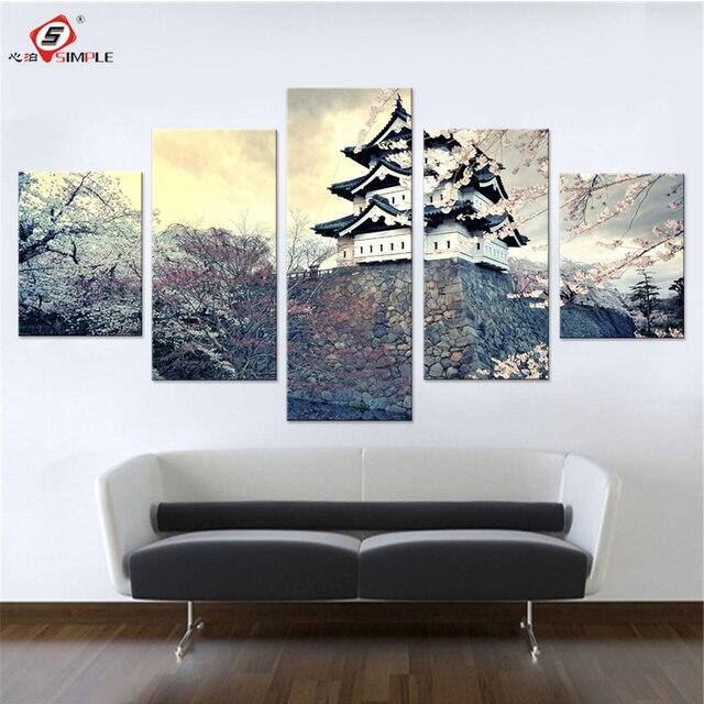 stad sakura japan lente canvas set muur pictures voor slaapkamer schilderijen voor muur japan stad wall