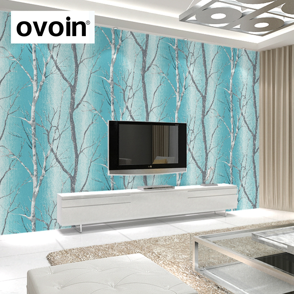 Buy teal blue modern embossed birch tree for Teal wallpaper living room