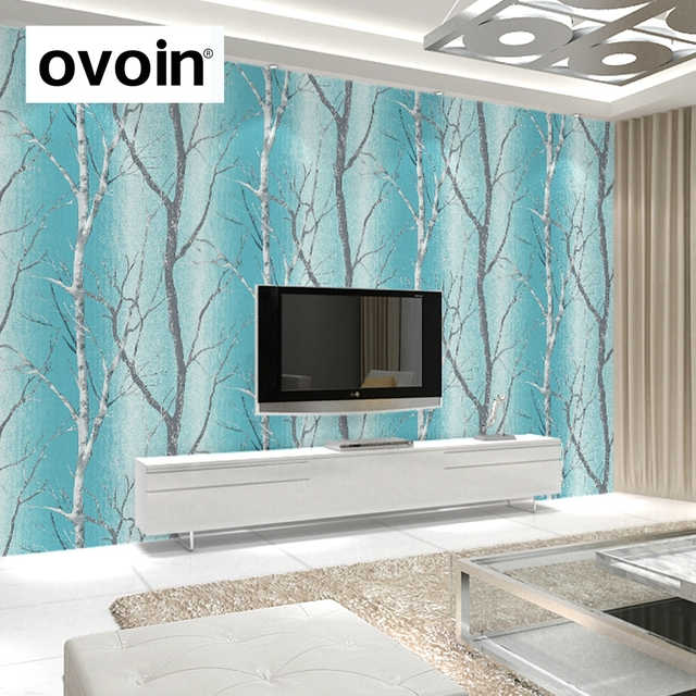 Teal Blue Modern Embossed Birch Tree Woods Wallpaper Colorful Murals Forest Wall Paper Roll For Living Room Background