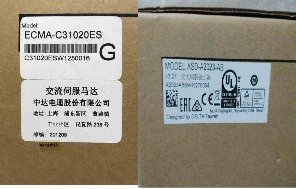ECMA-C31020ES+ASD-A2023-AB 220V 2KW 6.37NM 3000RPM 100mm AC Servo Motor & Drive kits 2500ppr A SET new brand ab series ac servo drive asd a0421 ab 1ph 220v 400w 2 6a encoder resolution 2500ppr