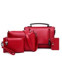 4 Pieces Set Solid Boston Bags for Women 2019 New Arrival Double Zipper Crossbody Retro Korean Style Purses and Handbags