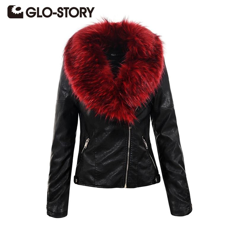 GLO-STORY 2018 Новый Для женщин Босоножки из искусственной pu кожи зимней моды Улица меховой воротник на молнии дамы Slim Fit пальто куртки 5071