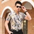 Сорочка Homme 2016 Новое Лето Роскошные Цветочные Рубашки Мужчины Большой размер Коротким Рукавом Повседневная Мужчины Рубашка Социальный Дышащая Мужская Одежда 7XL-M