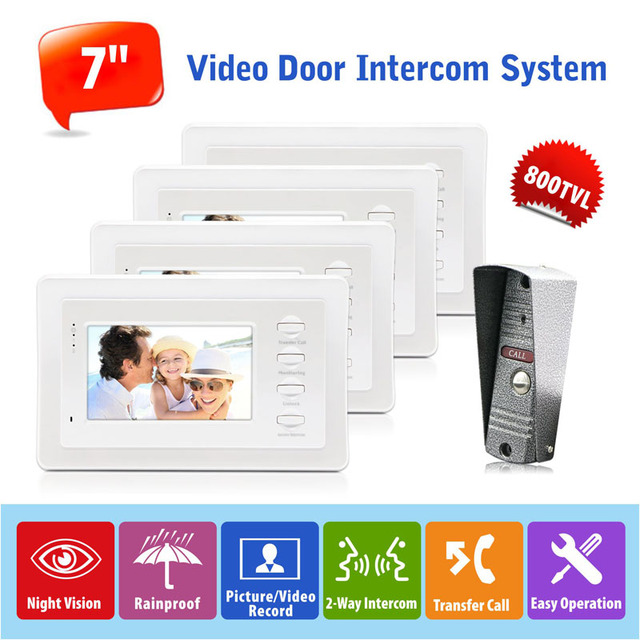 Hot Sell 1V4 Wired Video Door Phone Intercom Doorbell System Home Security Camera Night Vision 7 Inch LCD Screen Manual Key