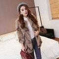 Genuine fox fur coats for women fashion O-neck long outwear pink red gray jacket korean style fourrure natural real fur coats