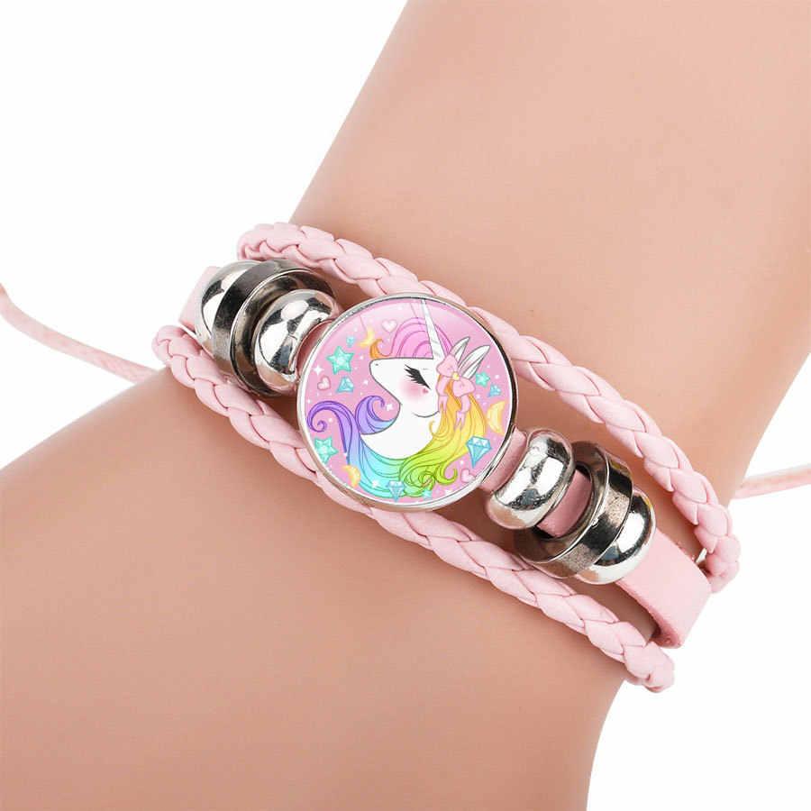 2018 милый мультяшный Единорог мужские браслеты драгоценный камень женский браслет цельный ручной работы из воловьей кожи подарок для детей