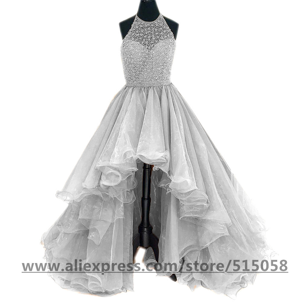 23973da81a Beading Halter Organza Ruffles High Low Prom Dresses 2017 Front Short Long  Back-in Prom Dresses from Weddings   Events on Aliexpress.com