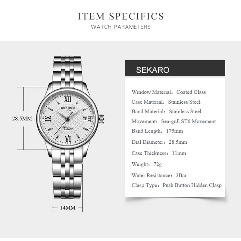 Sekaro mærke kvinders mekaniske ur luksus berømte automatiske watch - Dameure - Foto 6