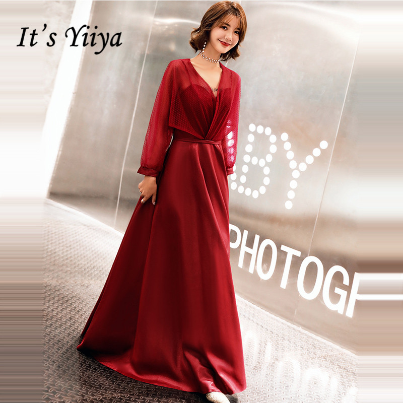 It's YiiYa Evening Dress 2019 Wine Red Fake Two Piece Long Sleeve V-neck Evening Gowns Party Dresses LX1340 Robe De Soiree