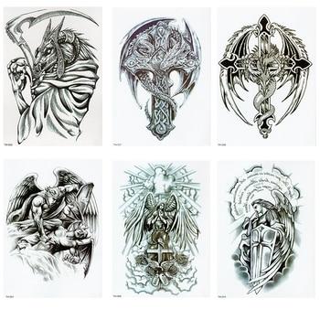 WARRIOR ANGEL WINGS CROSS TEMPORARY TATTOO, SET OF 1, CRUCIFIX, BODY ART, MENS, WOMENS warrior angel wings cross temporary tattoo set of 1 crucifix body art mens womens
