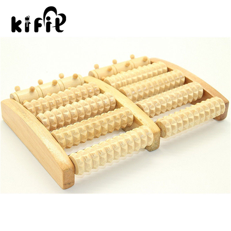 KIFIT Dual Large Wooden Foot Pain Massager Roller Care Reflexology Relax Stress Relief Health Care Tool reflexology walk cobblestone pain relief foot massager tcm foot acupoint massage relax mat pad square cushion beauty health care