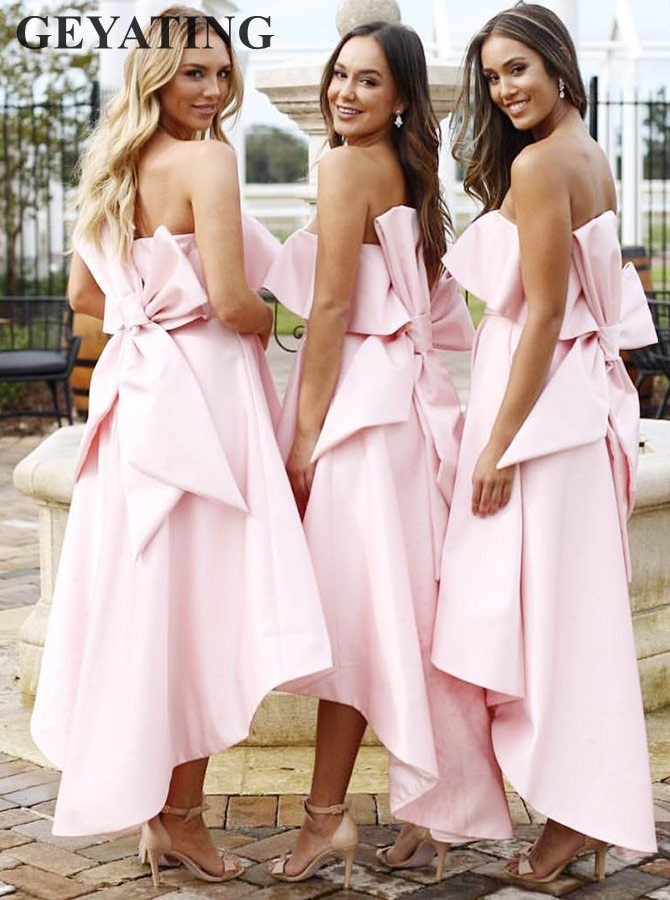 2019 New High Low Pink Satin   Bridesmaid     Dress   with Bowknot A-Line Strapless Boho Country Wedding Guest Party   Dress   Short Gowns