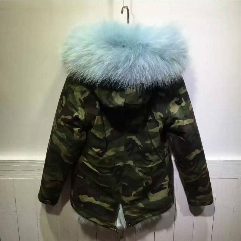 Ciel Laveur Camouflage Cheveux Renard Longs Raton Parka Fourrure D'hiver De Veste Frais 4qwOp
