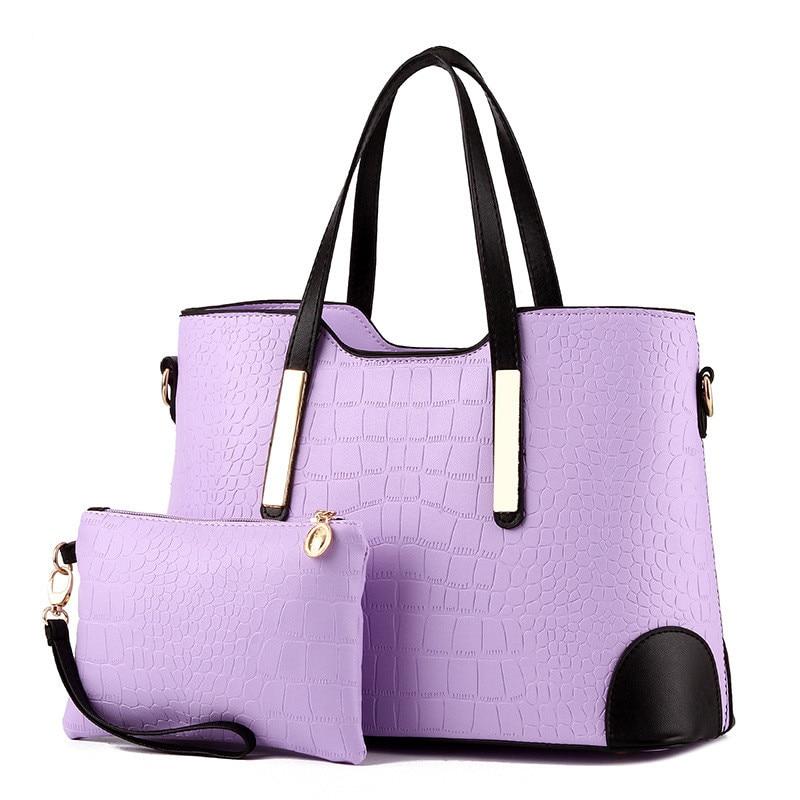 Women Bag Vintage Messenger Bags Shoulder Handbag Women Top Handle Crocodile Pattern Composite Bag Purse Wallet Leather in Top Handle Bags from Luggage Bags
