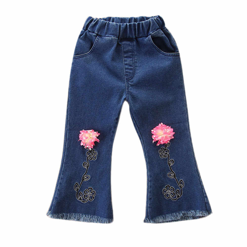 Kot kızlar için Yürümeye Başlayan çocuklar kot Bebek Kız Çiçek Flare Pantolon Denim bebek kız kot Pantolon damla nakliye ABD Gemi 1009