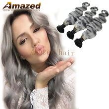 Ms lula Hair Products Ombre Grey Brazilian Hair Body Wave Hair Weave Bundles3 pcs lot 1B/Grey 2 tone Ombre Human Hair Extensions