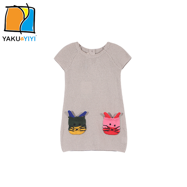 YKYY YAKUYIYI Sweet Cat Embroidery Girls Sweater Short Sleeve Baby Girl Knitting Top Soft Pockets Children Sweater Girl Clothing