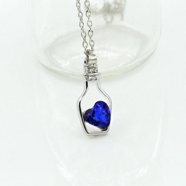 Trendy Heart in Bottle Shaped Crystal Pendant Necklace