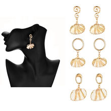 Korea Vintage Geometris Anting-Anting Fashion Tidak Teratur Anting-Anting Emas Buatan Tangan DROP Menjuntai Anting-Anting Geometris Sea Shell Perhiasan(China)