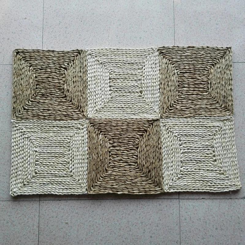 tapis de paille point de mais tresse 90x60cm tapis de sol de salon tapis de paille fait main