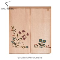 SewCrane Pink Morning Glory Embroidery Design Honeycomb Fabric Home Restaurant Door Curtain Japanese Noren Doorway Room