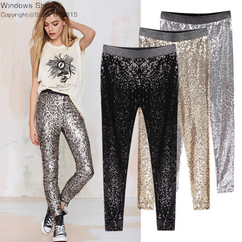 Colysmo New Celeb Style Womens Stretchable Sparkle Metallic Shinning Full Sequined Pants Slim Skinny Pencil Pants