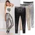 GP8 New Celeb Style Womens Stretchable Sparkle Metallic Shinning Full Sequined Pants Slim Skinny Pencil Pants Free Drop Shipping