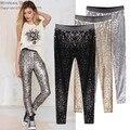 Gp8 novo estilo Celeb Womens Stretchable faísca Metallic Shinning completa lantejoulas calças Skinny Slim calças lápis gota frete grátis