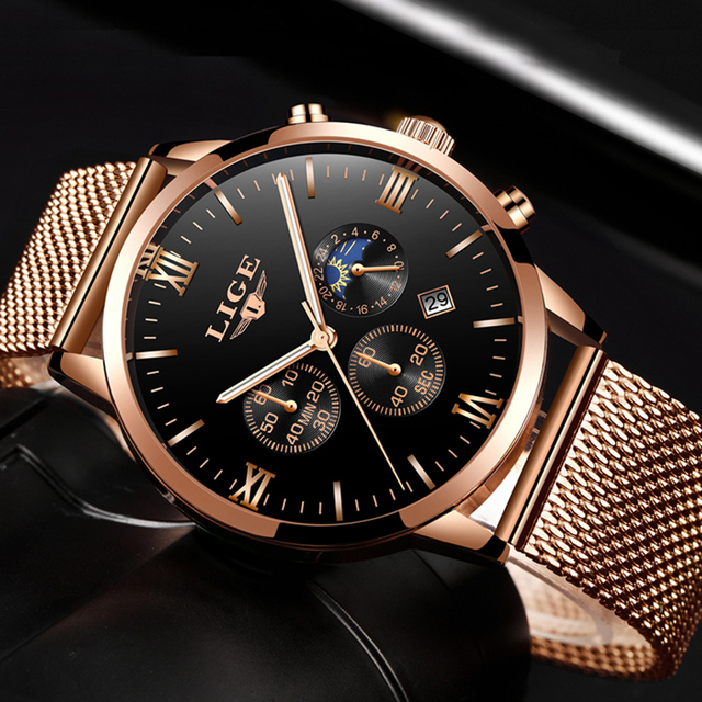 Top Luxury Business Gold Quartz Casual Mesh Steel Waterproof Sport Watch for men