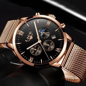 LIGE мужские часы Топ люксовый бренд Бизнес золотые кварцевые часы мужские повседневные сетчатые стальные водонепроницаемые спортивные час...