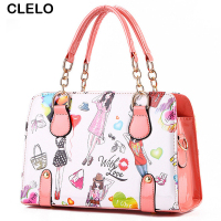 CLELO 2017 New Designer Bag Women Fashion Printing Pu Leather Handbags Female Sweet Candy Colors Shoulder