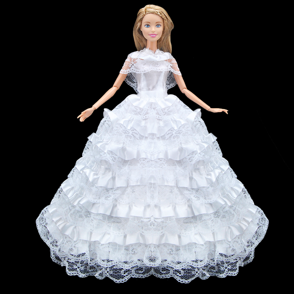 E-TING Vogue White Lace Costume Princess Robe Occasion Garments with Hat For Barbie Doll S