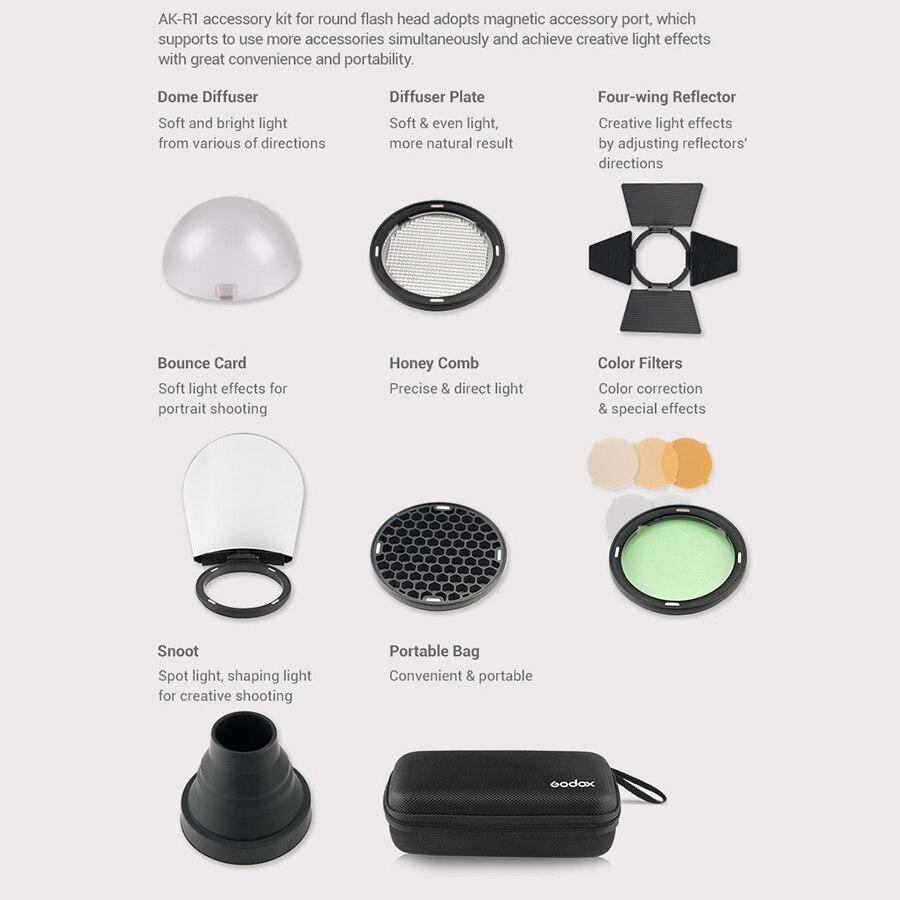 Godox AK-R1 schuurdeur, snoot, kleurenfilter, reflector, honingraat, - Camera en foto - Foto 2